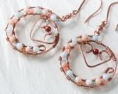 Wirework Hoop Earrings - Wire Wrapped Pastel Pink Jasper and Amazonite Beaded Hoop Earrings - copper wirework jewelry