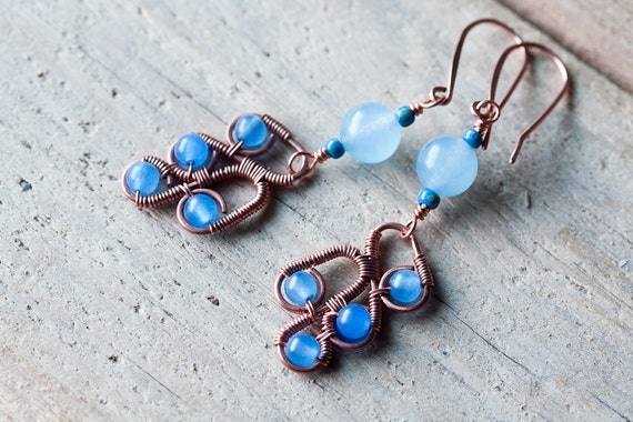 Sky blue dangle earrings, wire wrapped with blue jade beads -  handmade copper wirework jewelry, vivid bright blue earrings