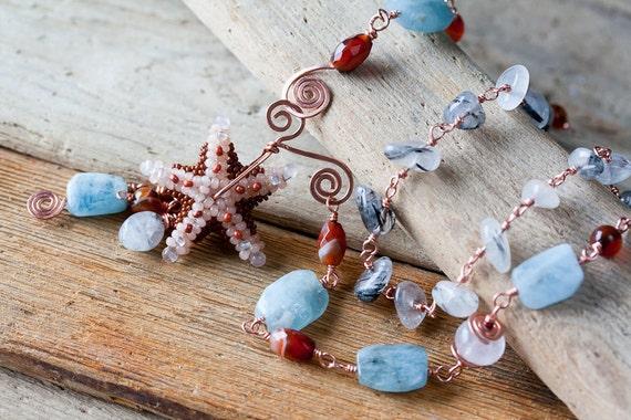 OOAK Aquamarine Mermaid Beaded Necklace with Starfish, wire wrapped Blue Aquamarine, Agate and Quartz Beads - artisan aquamarine jewelry