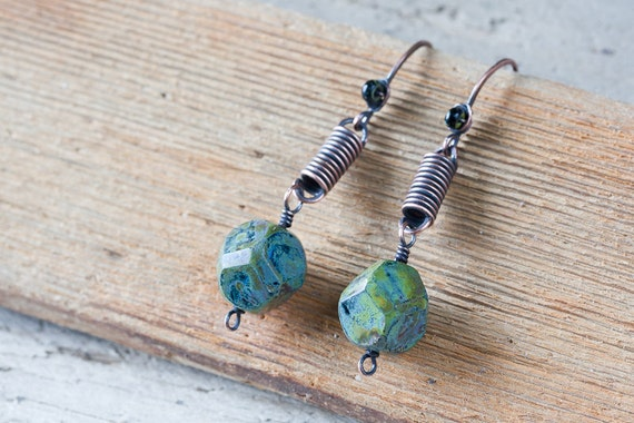 Copper earrings - copper coil dangle earrings with green faceted Picasso Czech glass beads - copper wirework earrings
