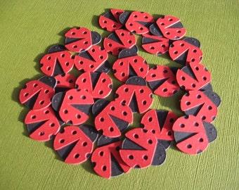 Ladybug Embellishments -  1 inch Die Cuts (25)
