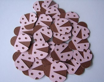 Ladybug Embellishments - 1 inch Die Cuts (25) in Pink and Brown