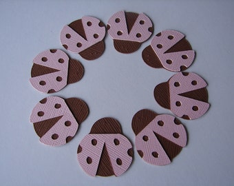 Ladybug Embellishments - 2 inch Die Cuts (25) in Pink and Brown