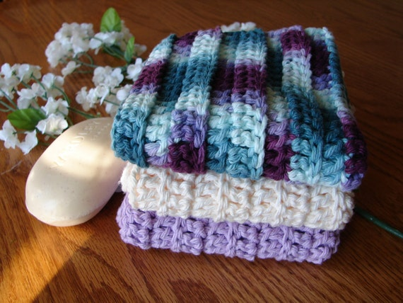 Rags With Ridges - Set of 3 Wash Cloths in Lavender, Cream and Festive