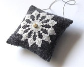 Wool ornament/ square hanging pillow/ white doily on felted gray knit
