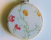 Hoop art/ vintage pink yellow french knot flowers on white
