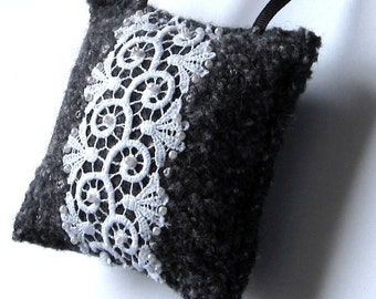 Wool ornament pillow home decor white lace on gray
