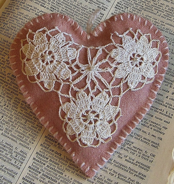 Wool hanging ornament/  doily on pink heart