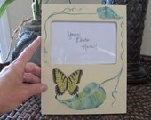 Hand painted picture frame - Butterflies with leaves, and vines, original and one of a kind pretty