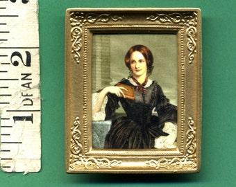 PICTURE CHARLOTTE BRONTE English Writer Dolls House Miniature portrait 12th scale