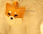 RESERVED for ILULI  - Felt Key Chain - Sesame Shiba Inu Puppy