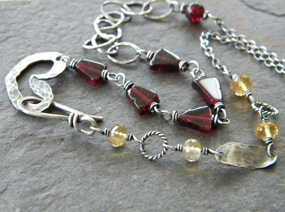 red garnet triangle, citrine, hammered fine sterling silver heart necklace