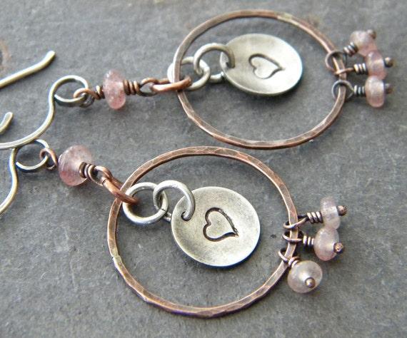pink muscovite, sterling silver heart disk, copper hoop ring earrings