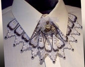 "Neck Lace Jabot Choker of White and Pewter Gray and Rhinestone Embellishments: ""Relished Alabaster"""