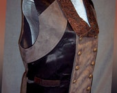 "Mens Swallowtail Vest, Pseudo-Suede and Satin, Double-Breasted Steampunk: ""Relished Brún"""