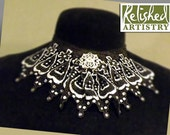 Choker Jabot of Hand-painted Lace, Silver and Rhinestones On Organdy Ribbon