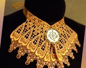 Antique Gold Lace Choker Jabot with Floral Charm and Rhinestones