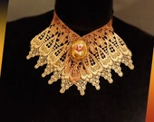 Lace Necklace of Tan and Hand-Painted Copper with Porcelain Rose Pendant on Filigree