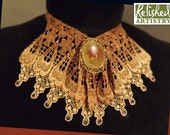 Lace Jabot Necklace of Tan and Rust Red, with Porcelain Cabochon on Filigree and Rhinestones
