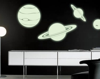 Glow Planets Phosphorescent Sticker wall decal - Glow in the Dark