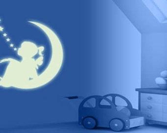 Moon girl phosphorescent wall decal sticker