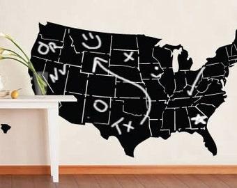 USA map chalkboard surface decal