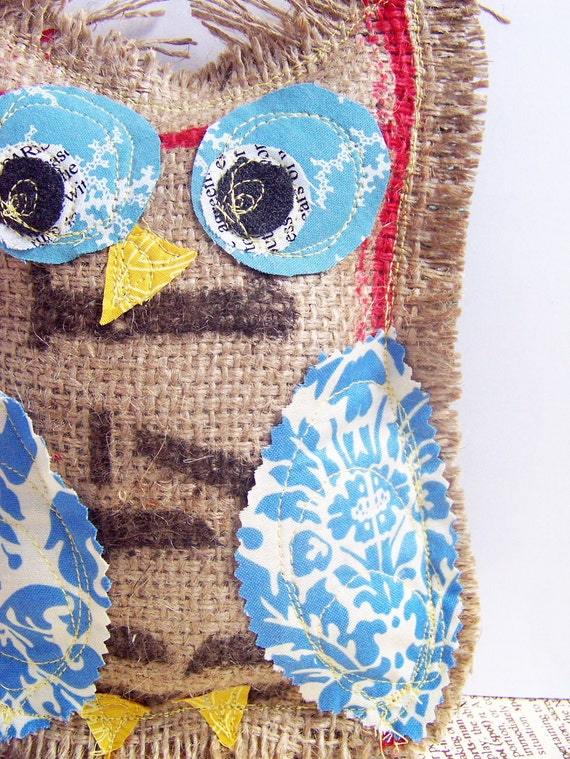 Owl -Upcycled Coffee Sack- Jack the Owl - red, white, and blue