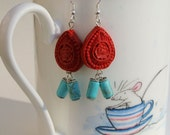 Cinnabar Teardrop Earrings