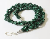 Braided Green Malachite Chip Necklace and Earring Set