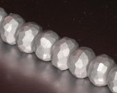 Silver Faceted Rondelle Polymer Clay Beads set of 4 - ColieStash