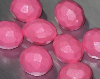 Pink Faceted Nugget Beads, Polymer Clay