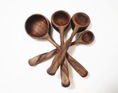 Wooden Measuring Spoon Set - Black Walnut - Hand Carved - No 18