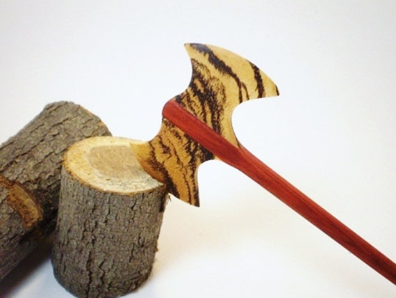 Wooden Hair Stick - Petite Hair Axe - Durin - Redheart and Zebrawood  - No 76