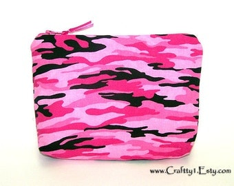 Pink Camouflage - Ladies Zip Pouch (SMALL)