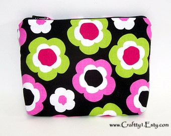Mod Flowers - Ladies Zip Pouch (SMALL)