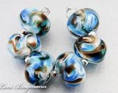 Blue Lampwork Beads, Pantone Olympian Blue, French Roast Brown, Handmade SRA