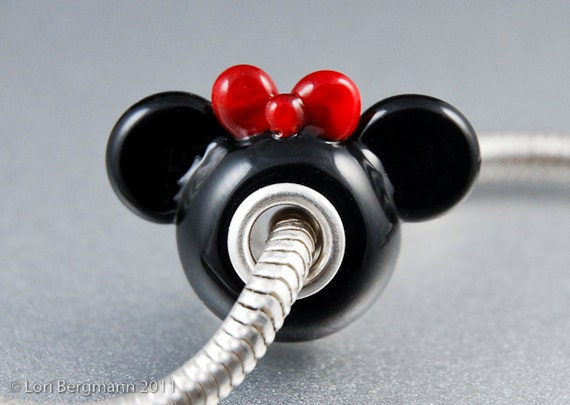 Girl Mouse Ears Big Hole Charm Bead, Red Bow, Handmade Lampwork
