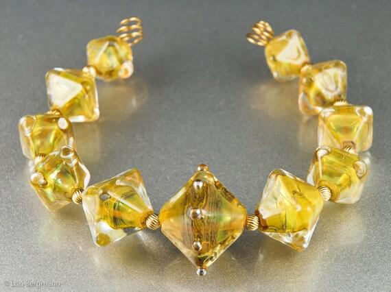Golden Handmade Lampwork Glass Bead Set, Diamond Crystals, Jewelry Supplies, SRA