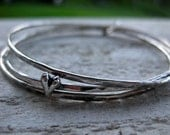 SINGLE HEART TRIO STERLING SILVER BANGLES ON ETSY