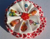 Babushka doll red polka dot fabric brooch