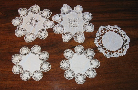 Reserved for Jehna Lot of 5 Vintage Hairpin Lace Doilies