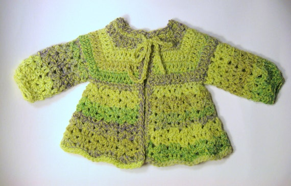 Handmade Baby Sweater in shades of Green