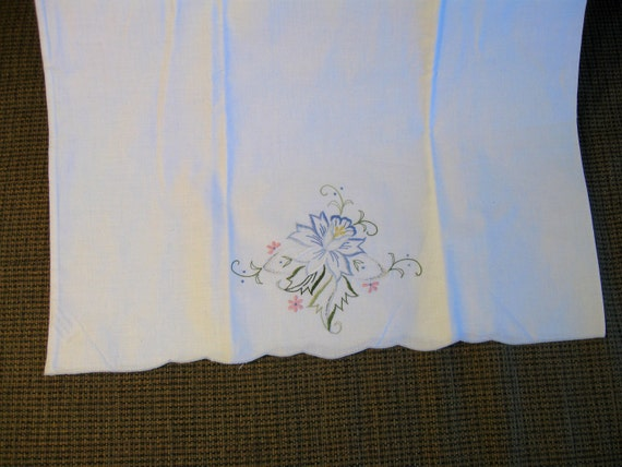 Embroidered Pillowcase, Vintage, Daffodil Flower, Cut work, Cottage Chic, French Decor, Shabby Chic
