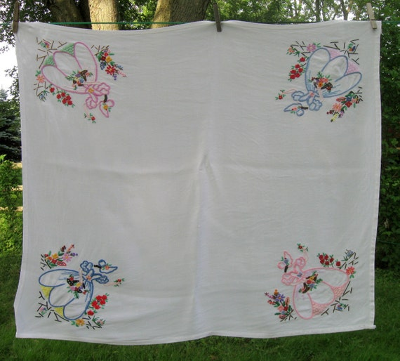 Vintage Tablecloth, Table Topper, Ladies with flowers, Princess,