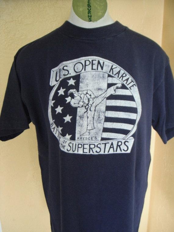 Karate vintage tee - navy blue - size medium or large