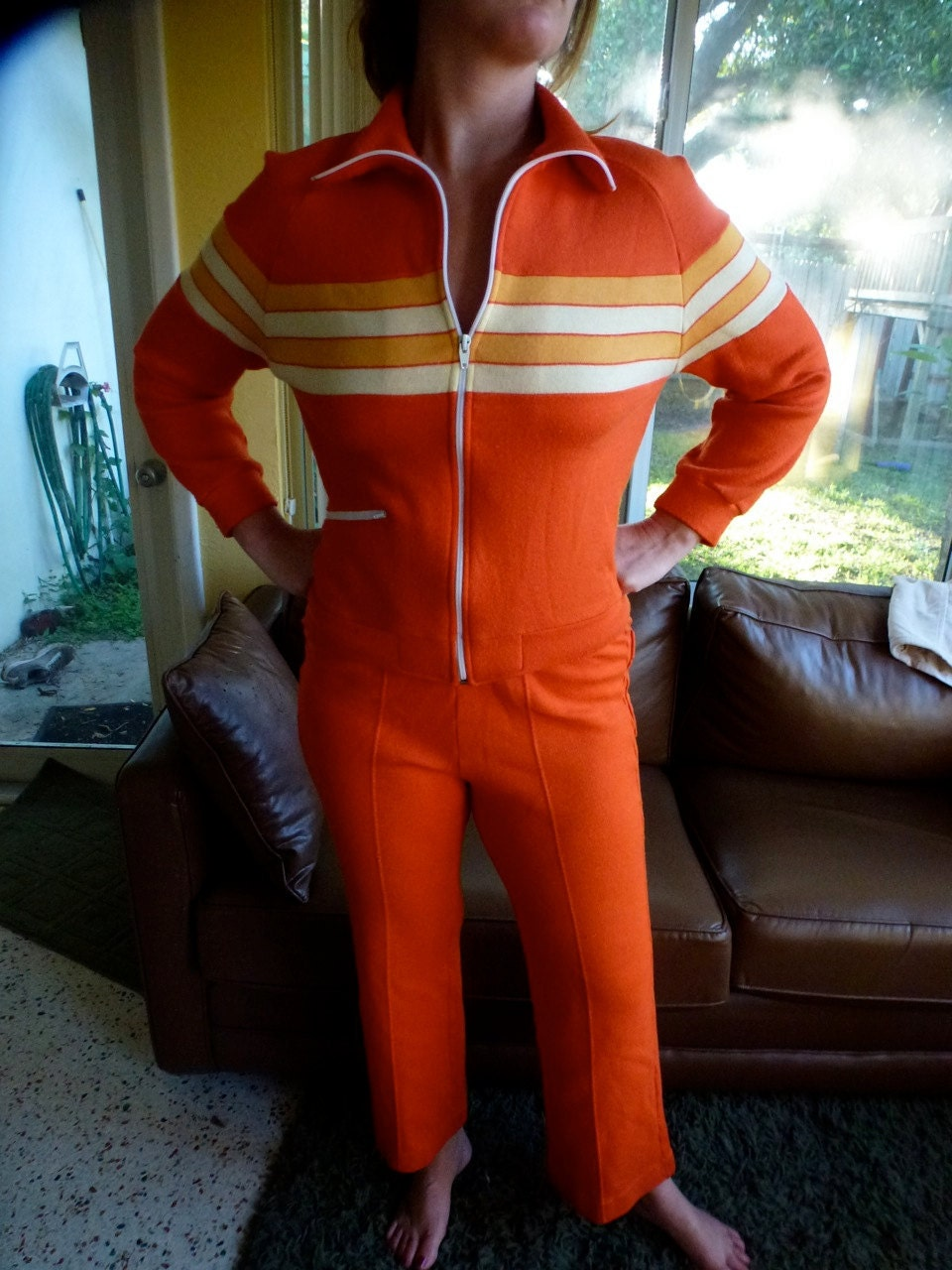 Vintage Orange Track Suit Jacket And Pants 1970s Size Medium