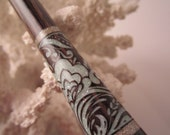 The Princess Eve Brocade Hairstick Featuring African Blackwood Inlaid with Mint Green Fresh Water Pearls and Silver