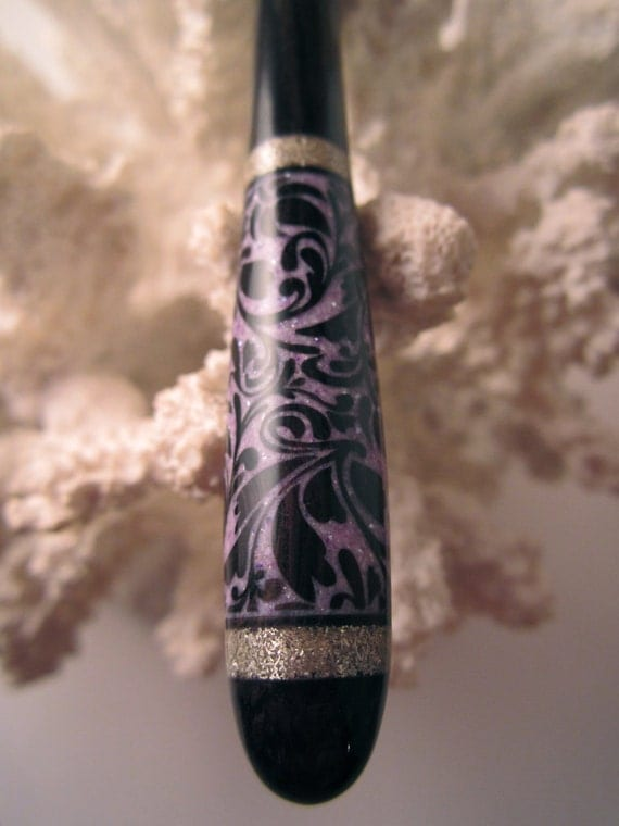 "The ""Petite"" Fancy Floral Hair Stick African Blackwood Inlaid with Purple Fresh Water Pearls and Silver"
