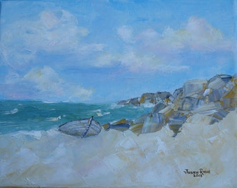 The Beached Boat - seascape oil painting, sea, beach, ocean, nautical, boat, original painting, art, waves, cove, clouds, 8x10