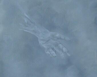 Return to Dust - original oil painting, hand, figure, God, heaven, death, grey, mourning, hope, Catholic, original painting, faith, 16x20